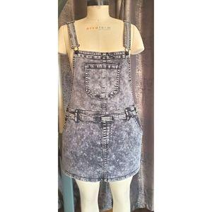 Forever 21 Grey Acid Wash Mini Skirt Overalls